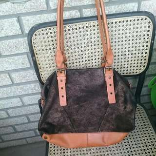New Anthropologie Genuine Leather And Suede Bag