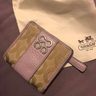 Used Small coach Wallet With Drawstring Bag