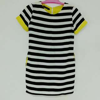 RESERVED: Black & White Stripe Dress With Yellow Detail