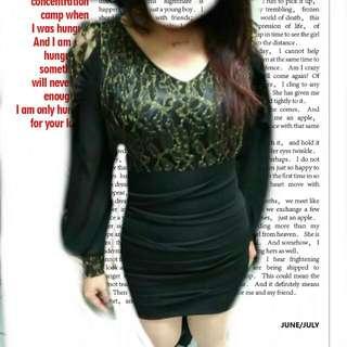 韓貨夜店時尚♡黑色鏤空蕾絲合身洋裝