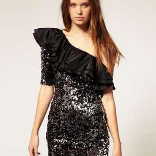 Rare size 10, Black Sequin One Shoulder Dress. Never Worn.
