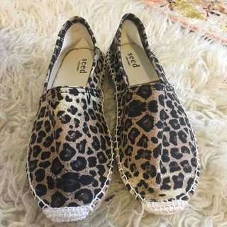 Seed Leopard Espadrilles Size 8
