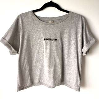 Size 12 Slogan Cropped Shirt