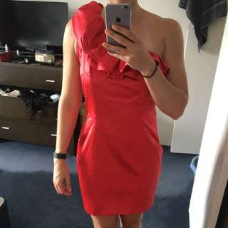 Metaphor By Nini Chang Red One-shoulder Dress. Size 12.