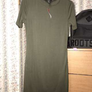 F21 Olive Bodycon Dress