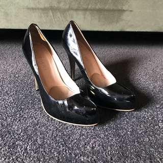 Patent Black Leather Heels