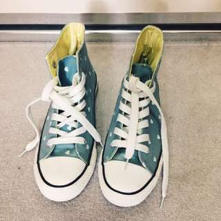 Dusty Blue Heart Print High Top Sneakers Size 39