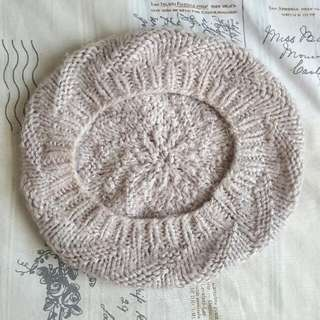 Light Pale Grey Knit Beanie Beret Winter Hat