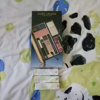 Estee Lauder Travel Bedak Original Dan 3 Lipstick High Impact Lip Colour. Merk Clinique Original.