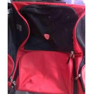 (紅色) 拉桿外出包 外出旅遊 寵物背包