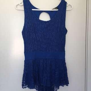 Blue Lace Peplum Top