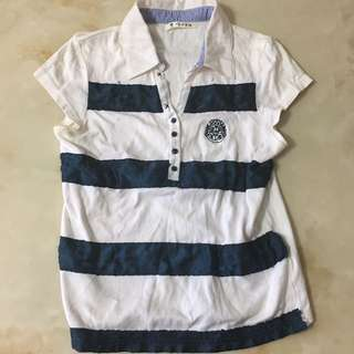百貨少女專櫃PPEM海軍風條紋襯衫