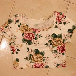 Forever 21 Flower Crop T-shirt