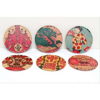 Chinese Style Drink Coasters In Tin Container - Alan Chan Creations