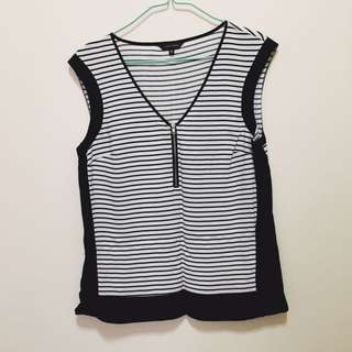 Portmans Striped Black And White Top Size 8
