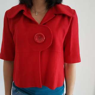 Red Hooded Poncho With Mid Sleeves