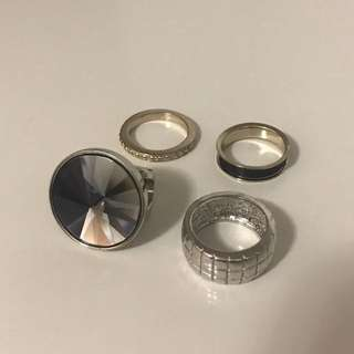 4 silver/gold rings for sale