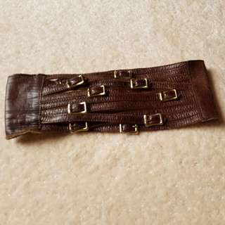 High Waisted Brown Leather Belt