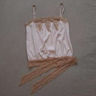 Size 8 Dusty Pink Lace & Silky Top
