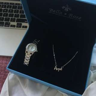 Bella & Rose Stainless Steel Watch/Necklace Giftset