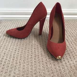 ASOS red suede platform heels size 8