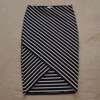 Size M Stripe Bodycon Skirt by Zara