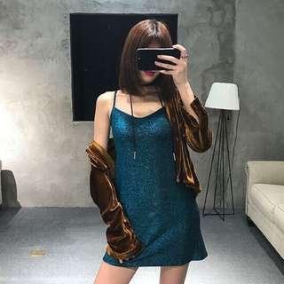 Glimmering Blue Shoulder Straps Dress