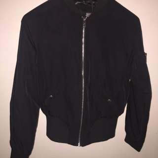 Satin Look Black Bomber Jacket With Pockets Cotton On