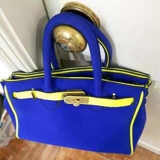 Neon Birkin Look-a-like Neoprene Handbag (Made in Italy)