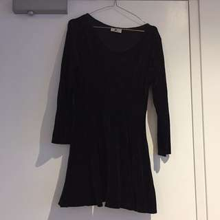 VINTAGE Black Velvet Skater Dress Size 10