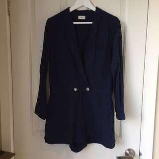 Navy Blue Long Sleeve Linen Playsuit
