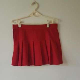 紅色百摺裙