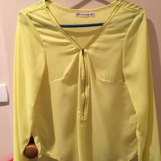 Long Sleeve Bright Yellow Top Size 10