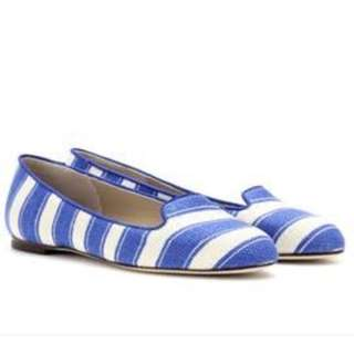 Dolce & Gabbana blue and white striped loafer flat