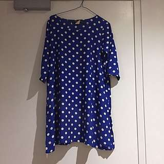 American Apparel Blue Polkadot Shift Dress