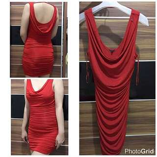 Guess Red Drappery Bodycon Dress
