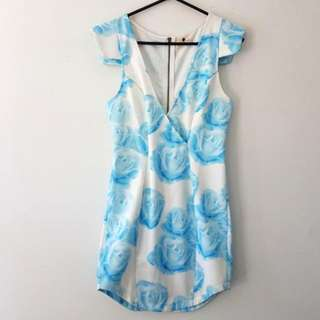 White And Blue Size8 Dress