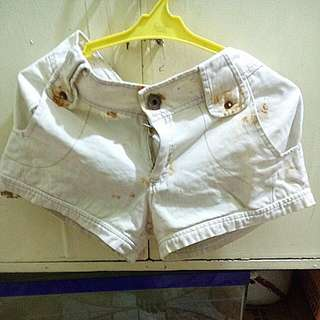 Opaque White Cross-stiched Short