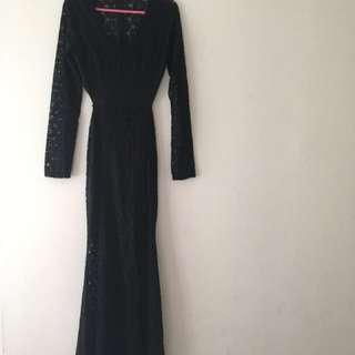 Sexy Bare Back Black Long Dress