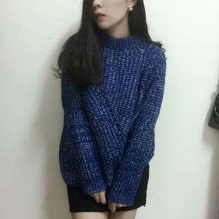 寶藍色交織白色毛線衣