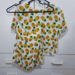 Pineapple Top And Skirt Set