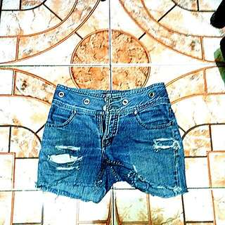 Authentic BNY Jeans Faded And Ripped Denim Shorts