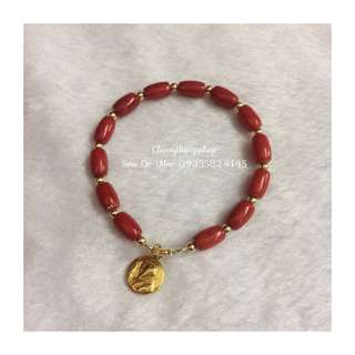Authentic Red Coral Bracelet W/ St.Benedict