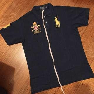 Polo Ralph Lauren Mercer RL Polo Team Big Pony #3 Collar Shirt In Navy