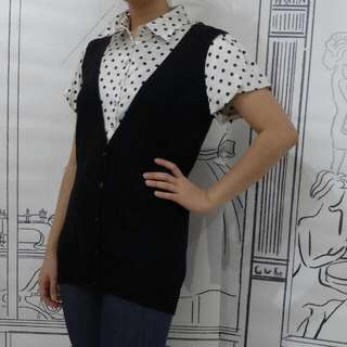 Blouse Hitam Polka Dan Blouse Sleevesless
