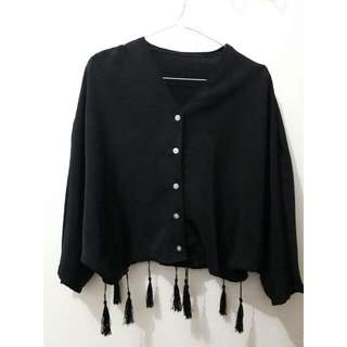 Black Batwing Cropped Shirt