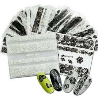 3D Black/white Lace Decals