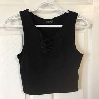 Topshop Crop Lace Up Tank Top