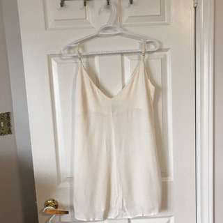 Cream Colored V-neck Slip Dress From F21