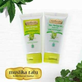 Face Peeling Gel & Peel Off Mask Green Tea Mustika Ratu -- Masker Facial